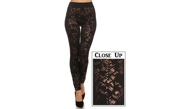 Mini-Cross Hatch Printed Leggings With Fleece Lining