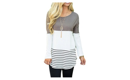 Women's Back Lace Color Block Tops Long Sleeve T-shirts Blouses 6ca560f2-fe85-4090-a15a-c775169c6370
