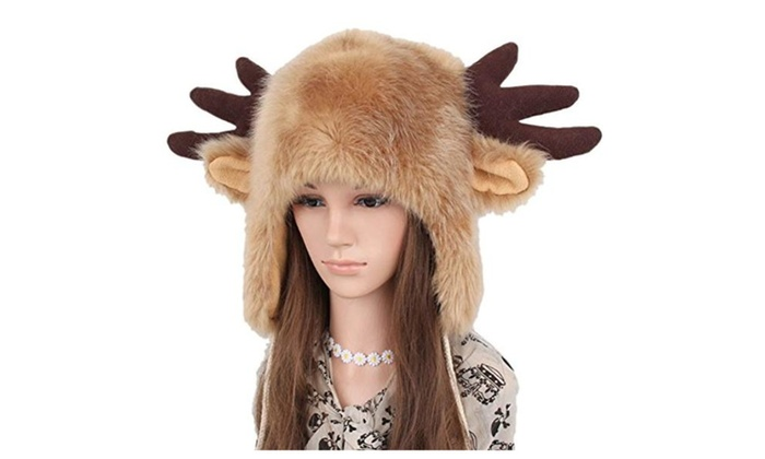 Women Winter Earcuff Hat Deer Christmas Beanie Cap with Horn – As Picture / One Size