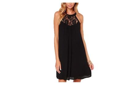 Women's Sleeveless Lace Patchwork Loose Casual Mini Chiffon Dress 73cbd04f-342b-4958-8f7e-ccd080c875c9
