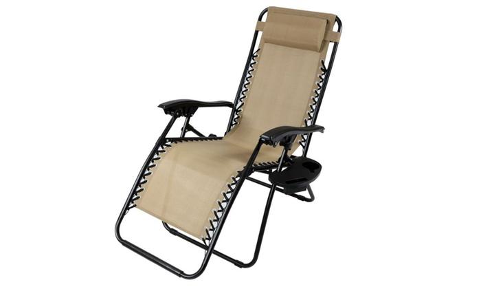 Ordinaire Sunnydaze Zero Gravity Lounge Chair With Pillow U0026 Cup Holder ...
