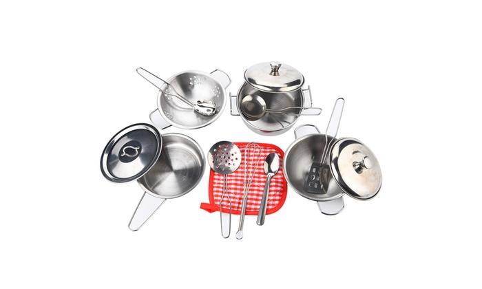 14 Pcs Set Kids Pretend Toys Kitchen Toys Stainless Steel Cookware Toy Set Groupon
