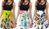 Women Floral Print Dress Summer O-Neck Sleeveless Vest A-Line Spring Mini Dress