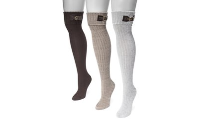 Image Placeholder For Muk Luks Womens Buckle Cuff Socks 3 Pairs