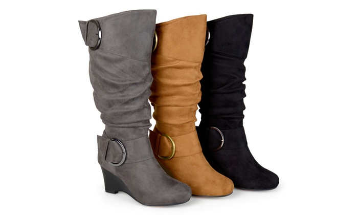 Journee Collection Womens Extra Wide Calf Wedge Boot