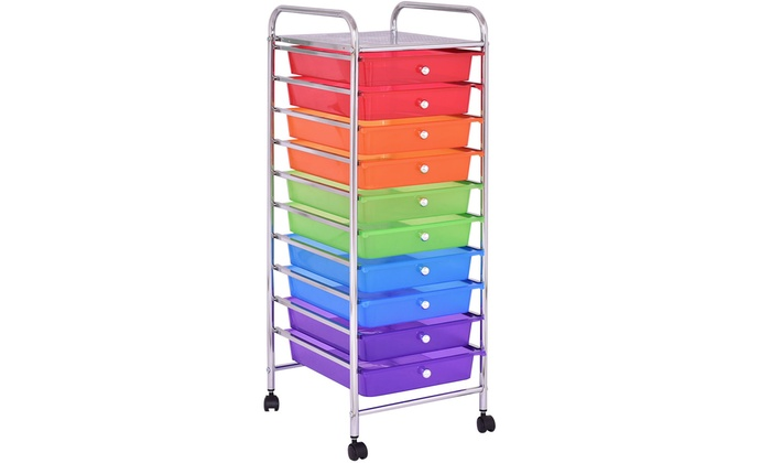 Superbe 10 Drawer Rolling Storage Cart Scrapbook Paper Office Organizer ...