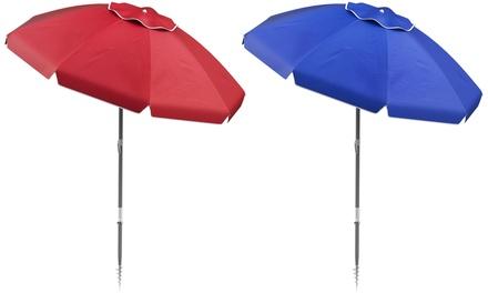 Pure Garden 7 ft. Beach Umbrella with 360-Degree Tilt