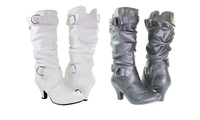 8bb35af2cc19 Cute Women Boots Kitten Heels Fashion Mid Calf Slouch Faux Leather ...