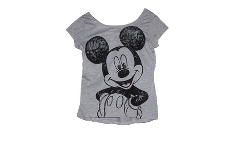 Disney Mickey Mouse Junior Womens Crop Top T Shirt Happy Hi Lo b6a9a52d-72bb-46b6-bb7d-f16f08c96133