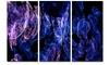 Dark Blue Fractal Desktop Wallpaper - Abstract Digital Metal Wall Art