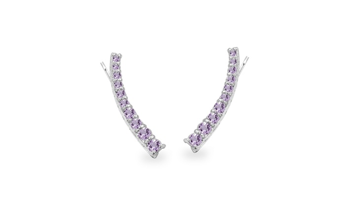 Sterling Silver Amethyst Round Graduated Climber Crawler