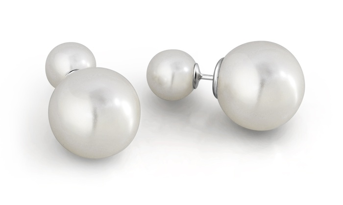 a84dd67f6 Sterling silver Front And Back Pearl Earrings By MUIBLU Gems | Groupon