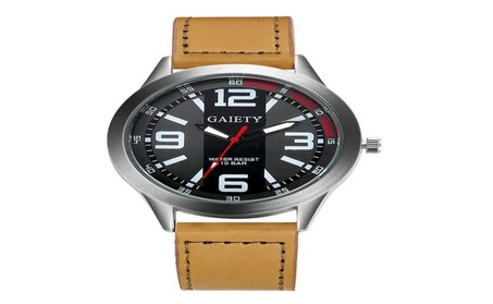 New Luxury Men Faux Leather Large Dial Military Watch 80ca5282-3f2c-463b-aca0-918c75669b01