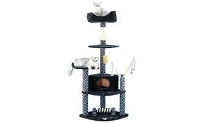 "GoPetClub 62"" Grey and Black Cat Tree Condo Furniture"