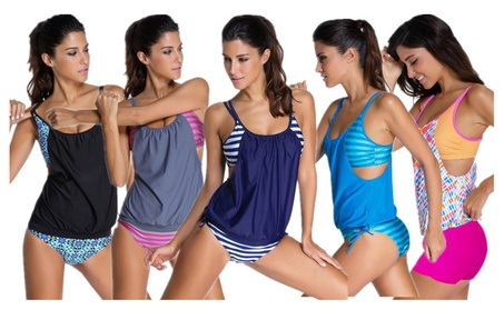 Womens Stripes Padded Two Pieces Swimsuit Triangle Briefs Tankini c238a320-b61b-4f03-8776-036777f8eb44