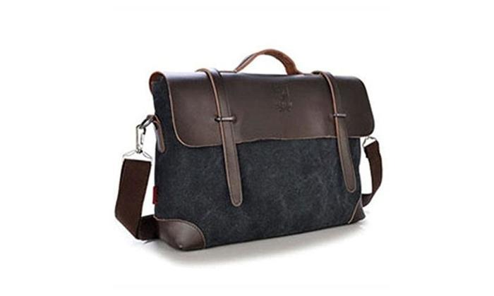 Men's Leather Canvas Messenger Bag Shoulder Bag Handbag Briefcase Laptop Bag