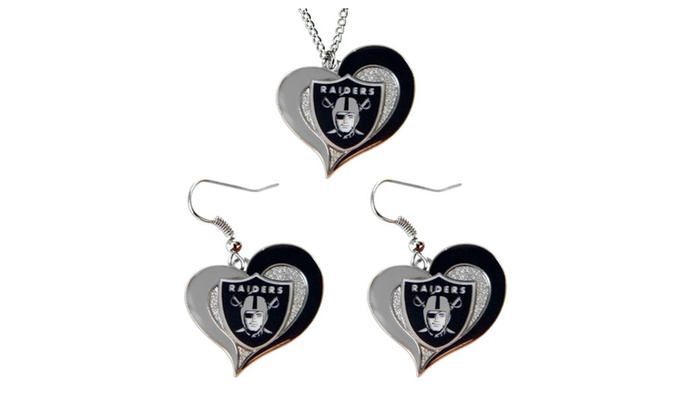 NFL Swirl Heart Pendant Necklace And Earring Set Charm