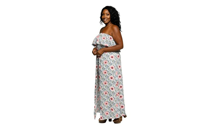 684cc4c54177 Xehar Women s Plus Size Off Shoulder Floral Long Maxi Romper Dress ...