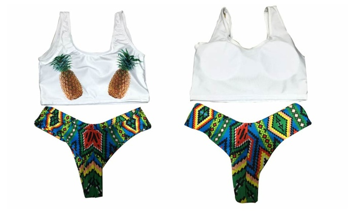 Cute Pineapple Print Tank Bikini Sets
