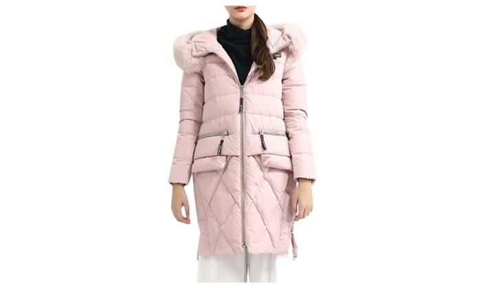 Women's Casual Insulation Zip Closure Hooded Down Coat
