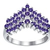 Orchid Jewelry Sterling Silver 1 Carat Amethyst Prong Set Chevron Ring