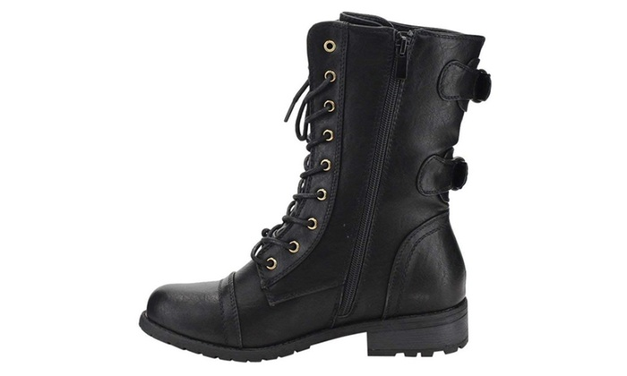 Womens Round Toe Lace Up Side Zip Low Heel Combat Style Boots Mango 71