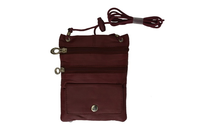 Leather Travel Neck Pouch Hold...