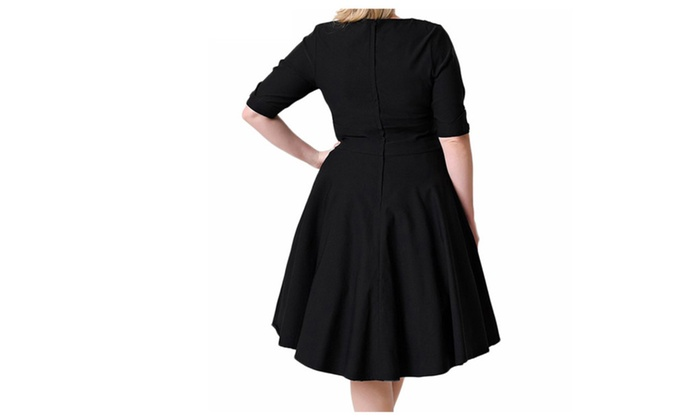 Shina Womens Vintage 1950s Style Sleeved Plus Size Swing Dress