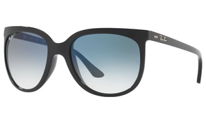 Ray-Ban Cats 1000 Sunglasses in Black with Light Blue Gradient Lens