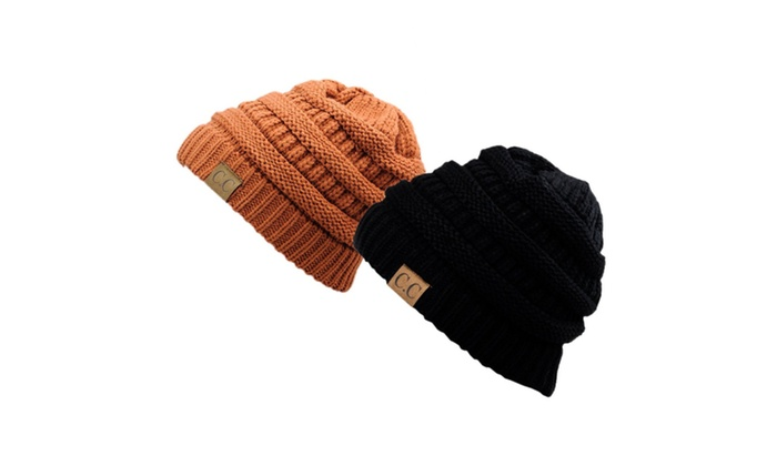 Chunky Cable Knit Beanie, Gift Set- Black & Rust
