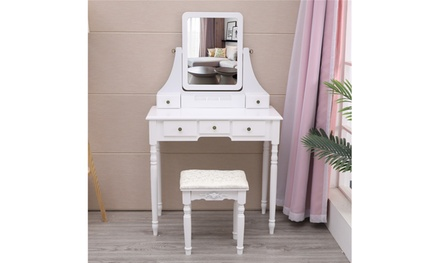 360-Degree Rotary Mirror Set Makeup Table Wood Vanity Dresser