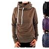 Long Sleeve Heaps Collar Hooded Hoodies Pocket Pullover Sweater