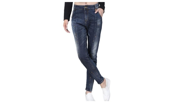 Women's Straight Leg Mid Rise Rivet Casual Long Jeans