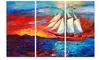 Sail Ship During Sunset - Seascape Painting Metal Wall Art