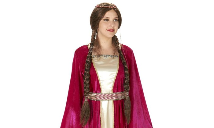 Brown Renaissance Braided Adult Wig