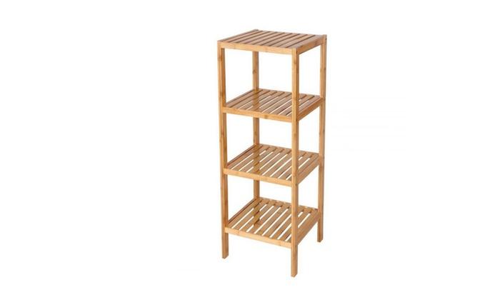 Bamboo Bathroom Shelf 4 Tier Multifunctional Storage Rack
