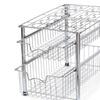 Stackable 2 Tier Sliding Basket Organizer Drawer, Chrome