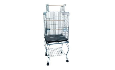 """YML Group 24"""" Open top Parrot Cage With Stand in Antique Silver a36f64ff-3eb3-4abd-b57b-7a7c5c51c54c"""