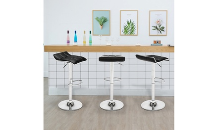 2 Soft-Packed Square Board Curved Foot Bar Stools Pu Fabric White/Black