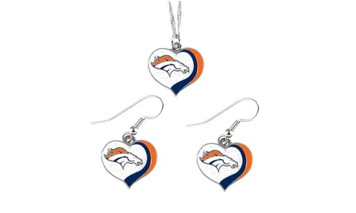 Denver Broncos NFL Glitter Heart Necklace and Earring Set Charm Gift