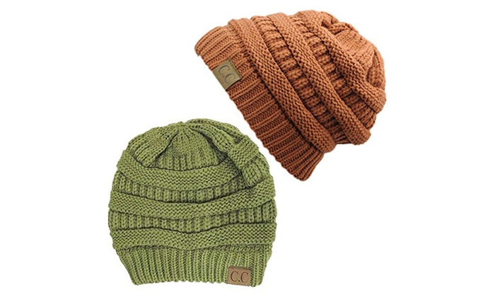 Chunky Cable Knit Beanie, Gift Set- Olive & Rust