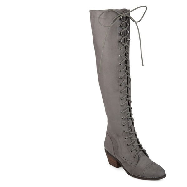 379f24988e0 Journee Collection Womens Wide Calf Brogue Lace-up Over-the-knee Boots