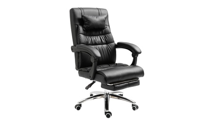 Gaming Chair With Footrest Office Chair Adjustable Backrest Reclining Leather