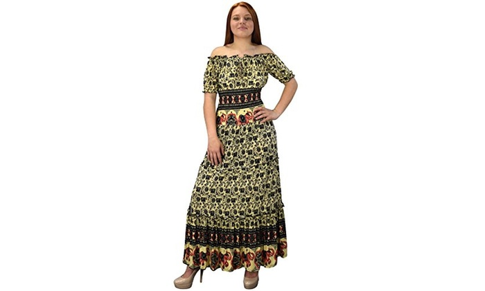 d7ba76d38d Peach Couture Gypsy Boho Cap Sleeves Smocked Waist Tiered ...