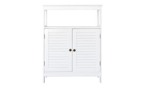 Bathroom Floor Cabinet Storage Organizer Cupboard W/ Double Door & Shelf