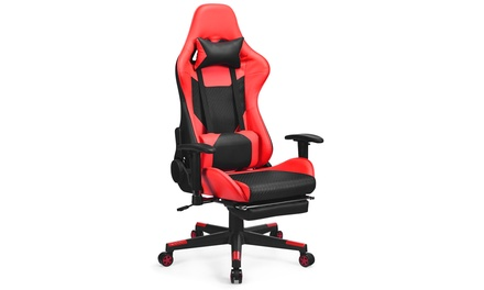 Costway Massage Gaming Chair Reclining Office Chair w/ Lumbar Support & Footrest