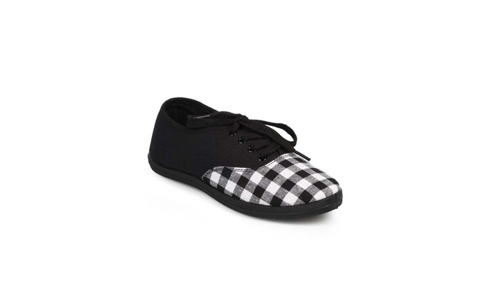 Black Gingham Plaid Print Canvas Lace-Up Fashion Sneakers