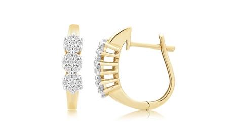 1/4 cttw Flower Cluster Diamond Hoop Earring 10K Gold Jewelry for Women Girls