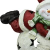 """15"""" Red and Green Snowman w/Snowball Christmas Tea Light Candle Holder"""