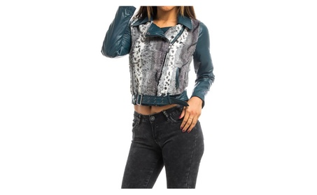 Animal Faux Fur Dark Teal Vegan Leather Cropped Jacket 8a01d826-167e-4271-87e9-2402799b00b5